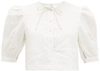 Sir - Alena Broderie-anglaise Linen Cropped Top - Womens - Ivory