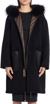Fendi Reversible FF Logo Wool & Silk Coat with Genuine Fox Fur Trim