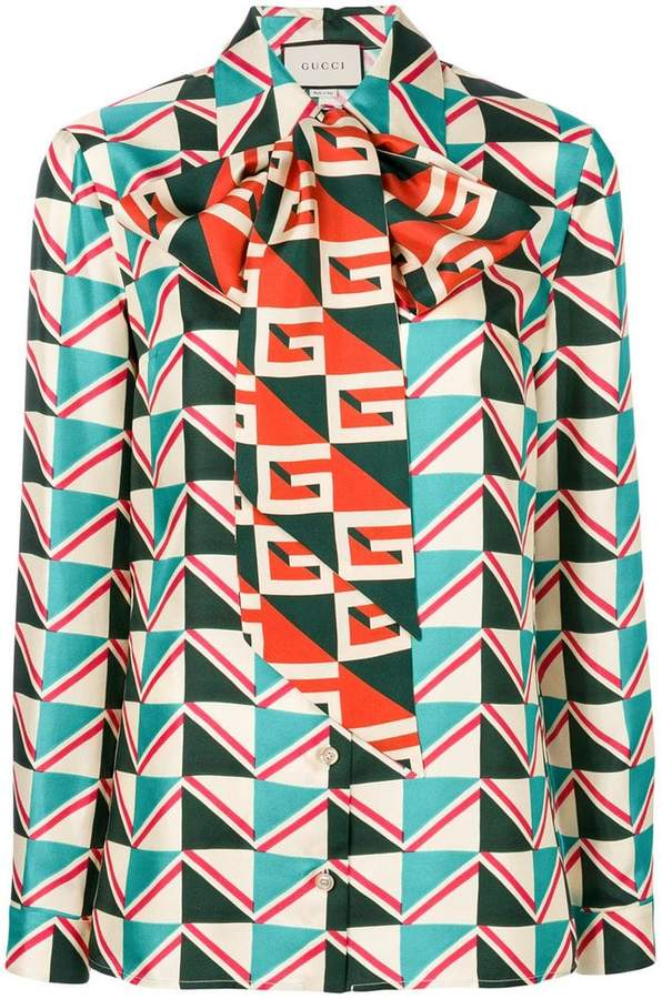 Gucci geometric print blouse with pussy bow