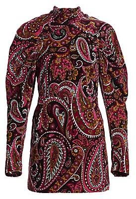 Rotate by Birger Christensen Women's High-Neck Paisley Puff-Sleeve Velvet Mini Dress