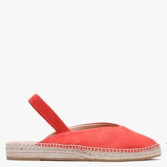Carmen Saiz Red Suede Pointed Toe Elasticated Sling Back Espadrilles