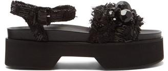 Simone Rocha Bead-embellished Flatform Sandals - Black
