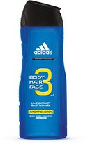 adidas Male Personal Care 3-in-1 Body Wash, Sporty Energy, 16 Fluid Ounce