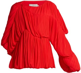 Preen by Thornton Bregazzi Heather Pleated Georgette Blouse - Red