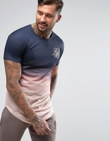 SikSilk T-Shirt In Navy Dip Dye
