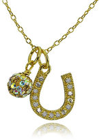 Lord & Taylor Horseshoe and Fireball Pendant Necklace