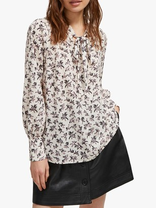 French Connection Felicienne Floral Tie Neck Blouse, Classic Cream/Blue