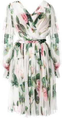 Dolce & Gabbana Rose-Print Belted Dress