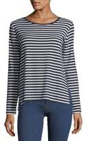 Majestic Paris for Neiman Marcus Long-Sleeve Striped French Terry Boat-Neck Tee
