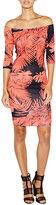Nicole Miller Lourdes Off-the-Shoulder Tropical Body-Conscious Dress