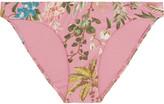 Zimmermann Tropicale Floral-print Bikini Briefs - Baby pink