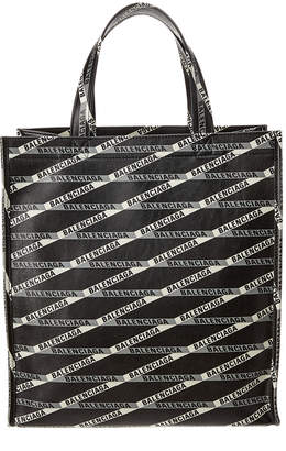 Balenciaga Logo Print Leather Shopper Tote