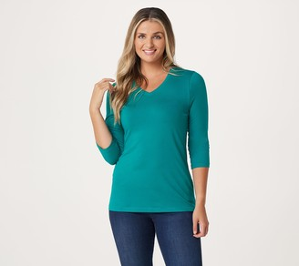 Denim & Co. Essentials Anywear Jersey V-Neck 3/4 Sleeve Top