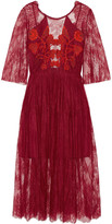 Sandro Shangai open-back embroidered corded lace midi dress