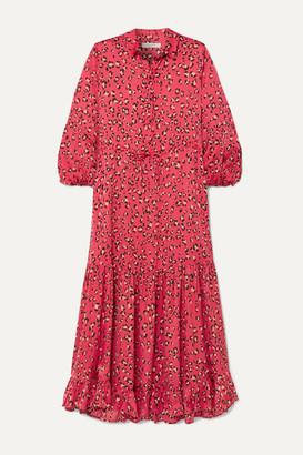 MUNTHE Haylin Leopard-print Ruffled Satin Maxi Dress - Fuchsia