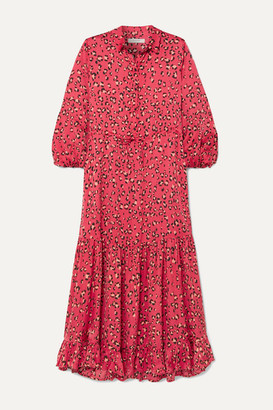 Munthe MUNTHE - Haylin Leopard-print Ruffled Satin Maxi Dress - Fuchsia
