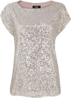 Wallis Silver Sequin Cap Sleeve Top