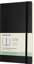 Moleskine 12-Month Large Weekly Soft Cover Diary/Notebook 2018, Black