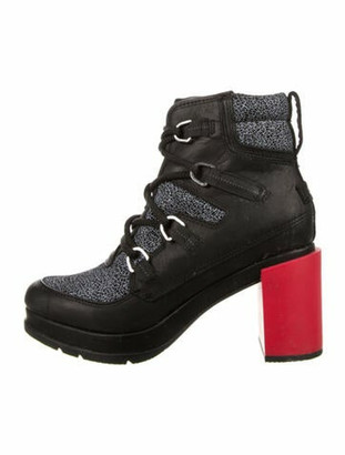 Sorel Leather Printed Lace-Up Boots Black