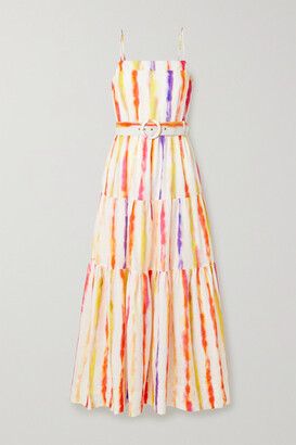 Nicholas Kerala Belted Printed Cotton And Silk-blend Maxi Dress - White