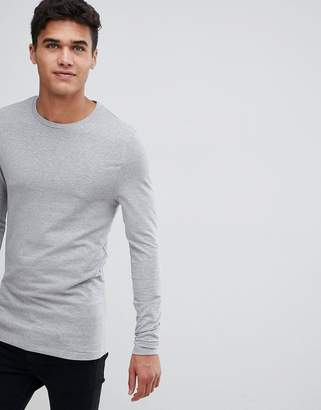 Asos Design DESIGN muscle fit long sleeve crew neck t-shirt in grey