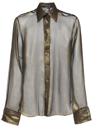 Ann Demeulemeester Oversized Cutout Metallic Silk-organza Shirt - Khaki