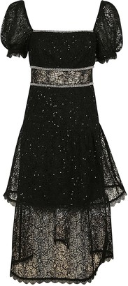 Self-Portrait Sequin Circle Lace Midi Dress