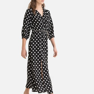Suncoo Polka Dot Midaxi Wrapover Dress with Long Sleeves
