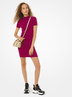 MICHAEL Michael Kors Ribbed Stretch-Viscose Mock-Neck Dress
