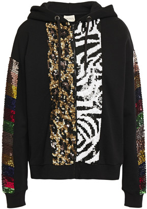 Alice + Olivia Barron Embellished French Cotton-terry Hoodie