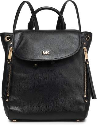 MICHAEL Michael Kors Evie Logo-embellished Pebbled-leather Backpack