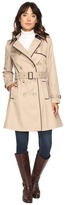 Lauren Ralph Lauren Double-Breasted Trench w/Faux Leather Trim Women's Coat