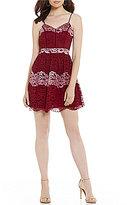 B. Darlin Spaghetti Strap Striped Lace A-Line Dress