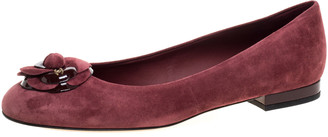 Chanel Burgundy Suede Leather Camellia CC Ballet Flats Size 41