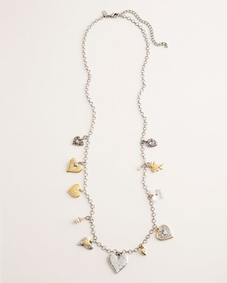 Chico's Long Mixed-Metal Heart Charm Necklace