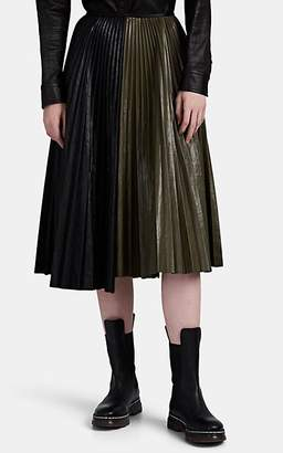 Cédric Charlier Women's Pleated Colorblocked Faux-Leather Skirt - Black Pat.