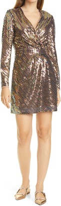 Ted Baker Pipii Sequin Long Sleeve Faux Wrap Cocktail Dress