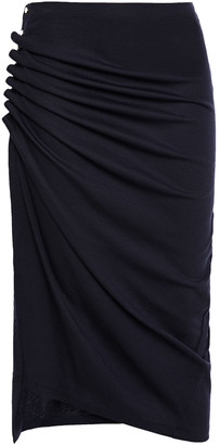 Paco Rabanne Button-embellished Ruched Stretch-wool Jersey Pencil Skirt