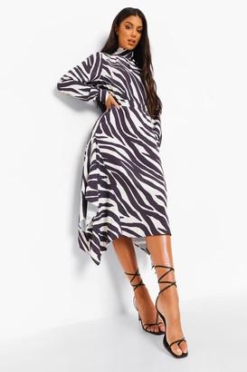 boohoo Zebra Print Tie Neck Dip Hem Dress
