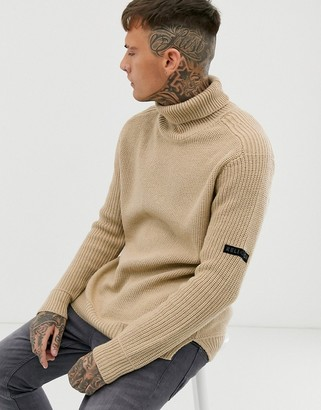 Religion chunky knit sweater with roll neck in camel-Tan