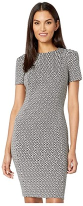 Calvin Klein Patterned Short Sleeve Sheath Dress (Black/Cream) Women's Dress
