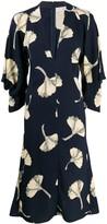 Victoria Beckham V-neck draped sleeve midi dress