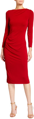 Giorgio Armani Ruched Matte Jersey Sheath Dress, Red