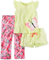 Carter's 3-Pc. Butterfly Pajama Set, Little Girls (2T-6X) & Big Girls (7-16)