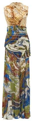 Jil Sander High-neck Marble-print Silk-jersey Dress - Womens - Blue Multi
