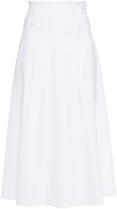 Loro Piana Kassidy Pleated Embroidered Cotton-poplin Midi Skirt