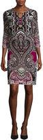 Tiana B 3/4-Sleeve Paisley Print Bar-Neck Shift Dress