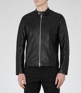 Reiss Reiss Brooklyn - Leather Jacket In Black