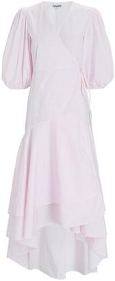 Ganni Poplin Puff Sleeve Wrap Dress