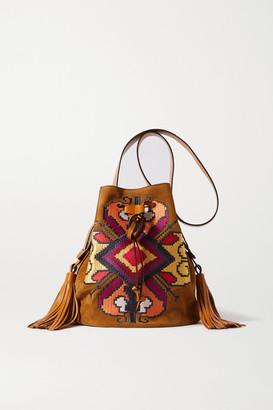 Isabel Marant Moshy Leather-trimmed Embroidered Suede Shoulder Bag - Tan